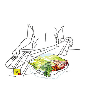 Illustration of a woman wrapping a plate in plastic wrap