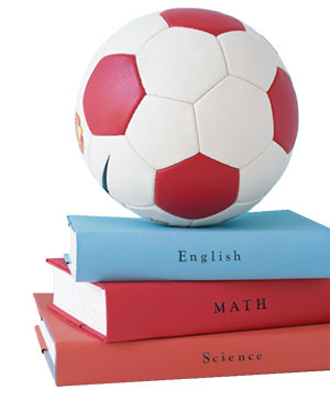 Soccer ball and books