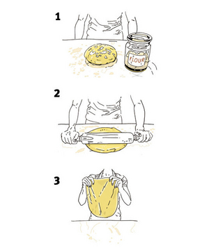 Illustration of shaping pizza dough