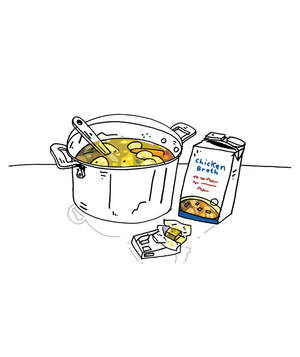Illustration of the difference between stock, broth, and bouillon