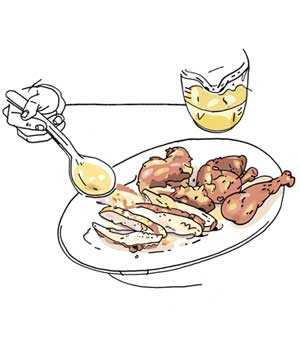 Drizzling chicken broth on turkey illo
