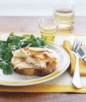Open-Face Turkey, Brie, and Nectarine Sandwiches With Arugula Salad