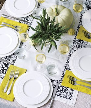 White Dish table setting