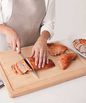 Slicing turkey breast
