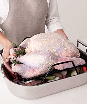 turkey in roasting pan