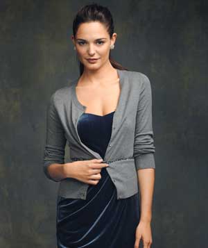 Model wearing gray cardigan