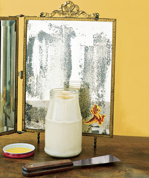 Mayonnaise used as a sticker remover on an old mirror