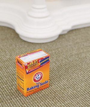 Baking soda used to freshen carpet