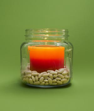 Beans as Candle Anchor