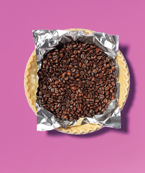 Coffee beans as pie weight