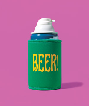Beer Koozie as Shaving-Cream Holder
