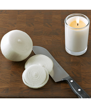 Candle used to burn off onion fumes
