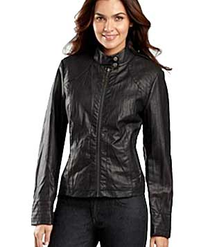 Crinkle Faux Leather Jacket