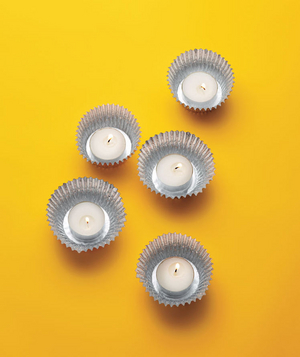 Cupcake liners used as candleholders