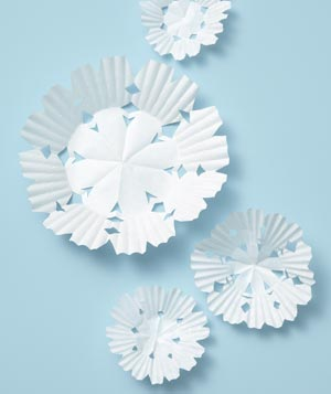 Cupcake Liner as Decorative Snowflakes