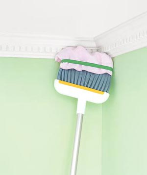 Broom dusting crown molding
