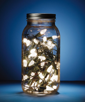 Mason jar filled with battery powered Christmas lights