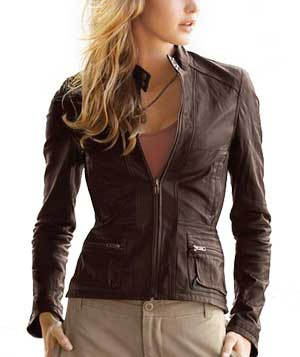 Leather Zip-Up Motorcycle Jacket