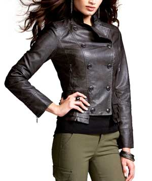 Leather Ruffled-Hem Jacket