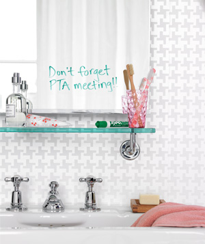 Bathroom Mirror as Memo Board