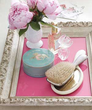 Picture frame used as a vanity tray