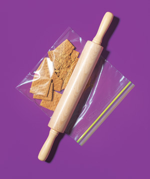 Zippered plastic bag used to crush graham crackers