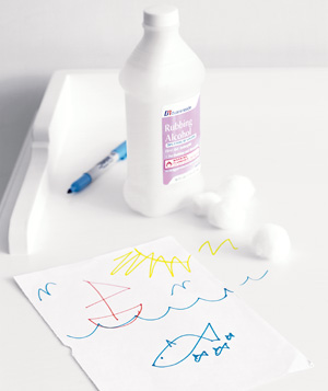 Rubbing alcohol used to remove permanent marker
