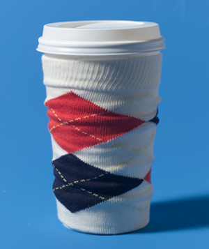 Sock as Coffee Cup Sleeve