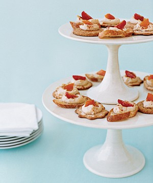 Appetizers on a tiered stand
