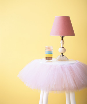 Nightstand decorated with a tutu