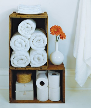 Crate as Linen Storage