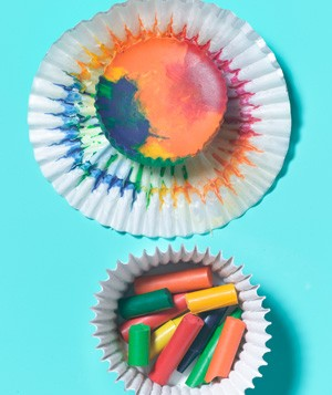 Cupcake Liner as Crayon Mold