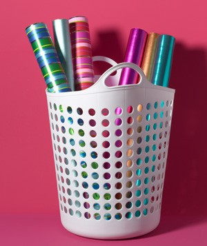 Laundry Hamper as Wrapping Paper Holder