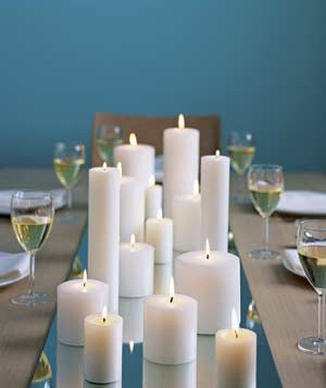 Mirror and candles as a table runner