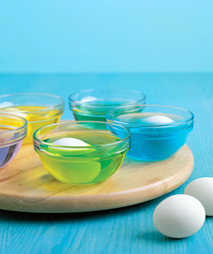 dyeing eggs on lazy susan