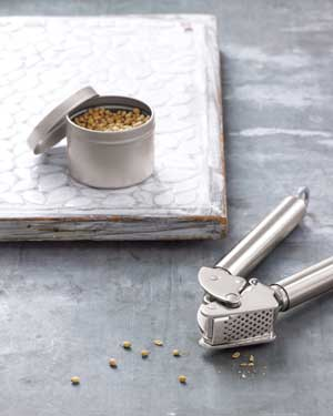 garlic press and a can of seeds