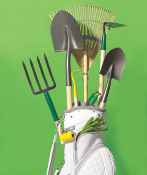 Gardening tools in a golf bag