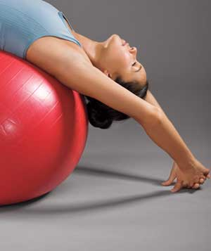 Model using exercise ball