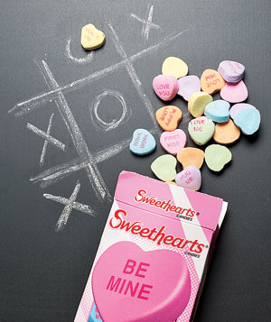 Conversation hearts as chalk