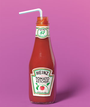 Ketchup and straw