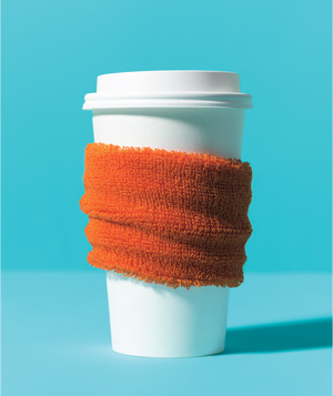 Wristband used to wrap hot beverage