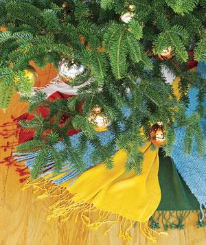 Tree skirt made of old scarves