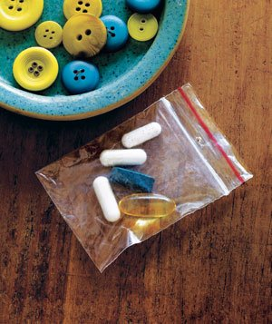 Button bag used as pill carrier