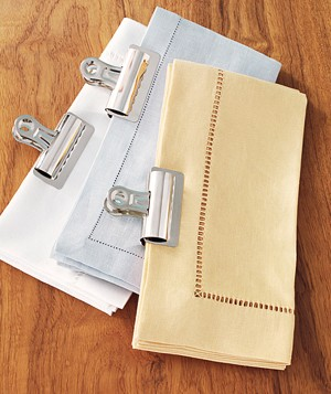 Binder Clip as Linens Organizer