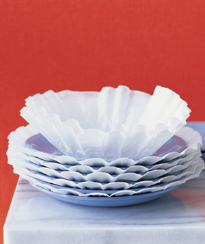 Coffee filter used to protect china