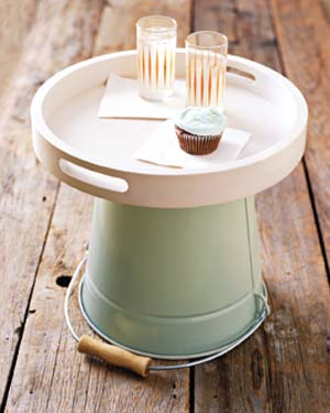 Bucket used as a side table