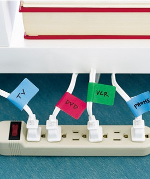 File folder labels used as cord labelers