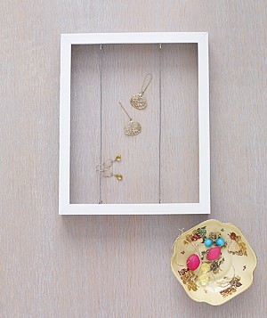 Picture frame as earring organizer