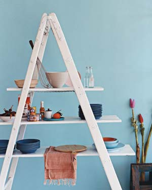 Ladder as Kitchen Shelving
