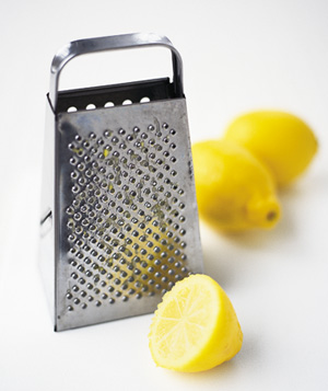 Lemon used to clean cheese from grater